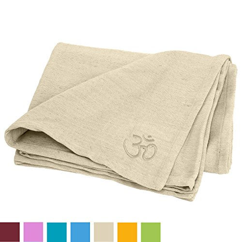Yogadecke SHAVASANA,100% Baumwolle, mit OM-Stick grob gewebt & robust, Tagesdecke, Kuscheldecke (natur-weiß)