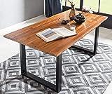 SalesFever Baumkanten-Tisch 120 x 80 cm | Cognac-Farben | Esszimmertisch aus massiver Akazie | Holz-Tisch mit schwarz lackiertem U-Gestell aus Metall
