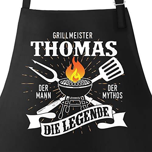 MoonWorks Grill-Schürze mit Spruch personalisierbar personalisierbar Grillmeister [Wunschname] der Mann, der Mytos, die Legende schwarz Unisize