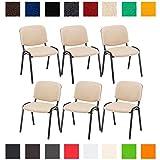 CLP 6X Konferenzstuhl Ken mit Stoffbezug oder Kunstlederbezug I 6 x Stapelstuhl mit Robustem Metallgestell I In Verschiedenen Farben erhältlich Stoffbezug: Creme
