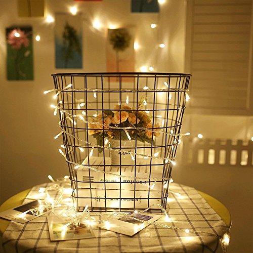 Lichterkette Innen strombetrieben LED 100ER Warmweiss Kinderzimmer Transparent EU-Stecker für Zimmer Bett Hochzeit Party Schlafzimmer Weihnachten Tannenbaum 31V-8 Funktiontyp-Memory-Verlaengerbar Party Licherkette