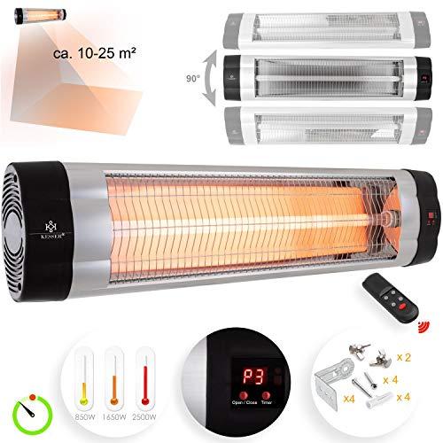 KESSER Infrarotstrahler 2500 Watt Heizstrahler Terrassenstrahler Wärmestrahler mit Fernbedienung, Wandhalterung, Leistung: 2500W mit Fernbedienung