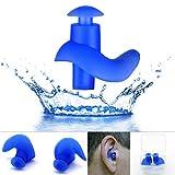 EROSPA Silikon Ohrstöpsel Schwimmen Tauchen Schnorcheln Erwachsene Kinder Ear Plug blau schwarz 1 Paar inclusive Aufbewahrungsbox (Blau)