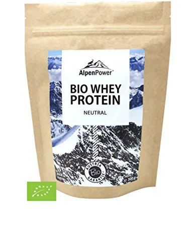 ALPENPOWER | BIO WHEY Protein Neutral | Ohne Zusatzstoffe | 100% natürliche Zutaten | 7 Sorten | Bio-Milch aus Bayern und Österreich | Ökologisch & nachhaltig | Hochwertiges Eiweiß | Low Carb | Organic Whey | 500 g