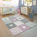 Paco Home Kinderteppich Kinderzimmer Kariert Punkte Herzen Sterne In Pastell Lila Grau, Grösse:120x170 cm