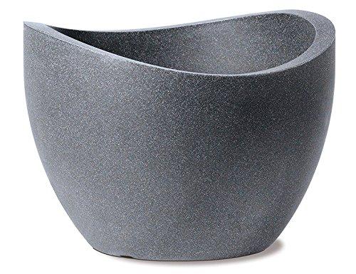 Scheurich Wave Globe, Pflanzgefäß aus Kunststoff, Schwarz-Granit, 50 cm Durchmesser, 37,1 cm hoch, 37 l Vol.
