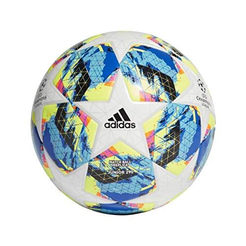 adidas Jungen Finale TT J290 Turnierbälle für Fußball, top:White/Bright Cyan Yellow/Shock pink Bottom:Collegiate royal/Black/solar orange, 4