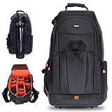 Rollei Fotoliner Fotorucksack L (großer Kamerarucksack (Daypack) mit Schnellzugriff, Laptop-Fach, Regenschutz und Handgepäck tauglichen Maßen) schwarz