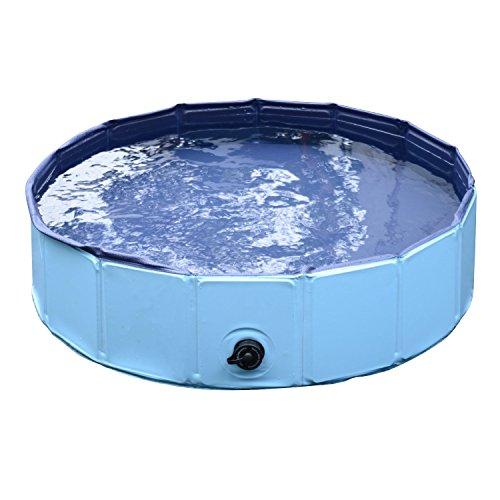 PawHut D01-003BU Hunde Badewanne Wasserbecken für Haustier, blau
