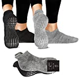 LA Active Grip Socken - 2 Paar - Yoga Pilates Barre Ballet rutschfest (Slate Grey and Stellar Black)