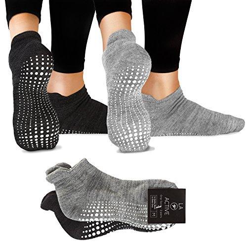 LA Active Grip Socken - 2 Paar - Yoga Pilates Barre Ballet rutschfest (Slate Grey and Stellar Black)