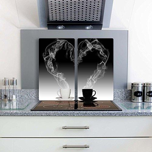 FTB Gsmarkt Herdabdeckplatten Schneidebrett Set 2x30x52 Glasbild Kaffee