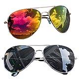 easy4fashion myfashionist 2 Stück Pilotenbrille Aviatorbrille Portobrille Sonnenbrille Brille verspiegelt (Schwarz-Gold)