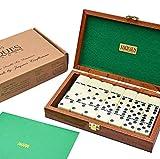 Luxus-Domino - Doppel-Sechs-Domino-Set in handgefertigtem Mahagoni-Etui - Jaques of London