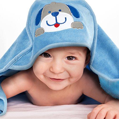 Mias Badehandtuch Baby Mikrofaser mit Kapuze, hellblau, mit 3-D-Hund-Applikation – 2 Jahre Geld-zurück-Garantie – Kapuzenhandtuch, Baby-Badetuch – für trockene, weiche Baby-Haut nach dem Baden