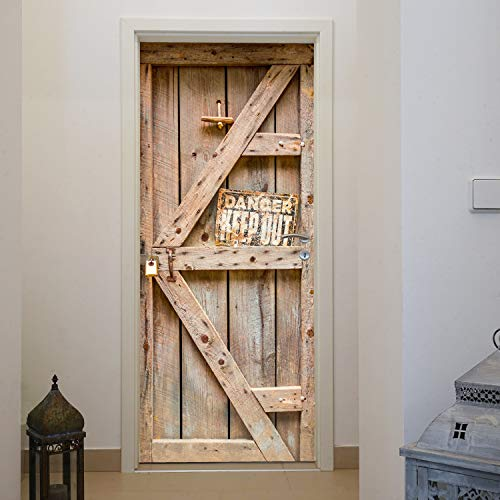 murimage Türtapete Tür Holzoptik 86 x 200 cm Western Rustikal Bretter Fototapete inklusive Kleister