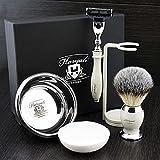 Premium Shaving Kit Geschenk für Männer (Gillette Mach 3 Rasierer, Pinsel, Schüssel, Stand) Marken-Box