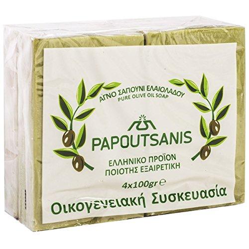 Grüne reine Olivenölseife Griechisch traditionell 'Papoutsanis' - Packung mit 4 x 100g