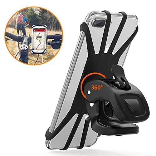 STOON Handyhalterung Fahrrad, 360°Rotation Telefonhalter für iPhone X/8/7/6 Plus, Samsung Note 9 & Alle 4,5-6,0 Zoll Handys, Universal Silikon Verstellbarer Handyhalter für Motorrad (Schwarz)