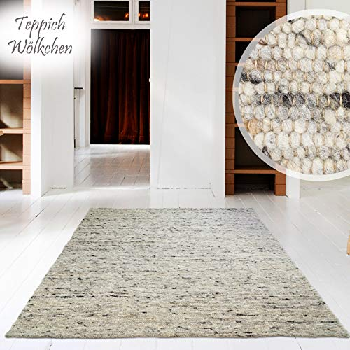 Handweb-Teppich | Reine Schur-Wolle im Skandinavischen Design | Wohnzimmer Esszimmer Schlafzimmer Flur Läufer | Kiesel - 70 x 130 cm