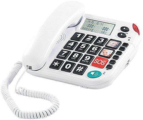 simvalley communications Notruf-Senioren-Telefon XLF-80Plus mit Garantruf, weiß