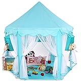 KIDUKU Kinderspielzelt Spielschloss Prinzessinenschloss Spielzelt Bällebad Spielhöhle mit Hängenetzen, in 3 Farbvarianten (Blau)