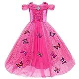Le SSara Weihnachtsmädchen Prinzessin Cosplay Kostüm Fancy Schmetterling Kleid (150, A-rose rot)