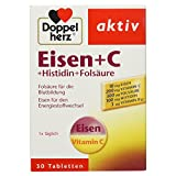 Doppelherz Eisen + C + Histidin + Folsäure / 10 mg Eisen für den normalen Energiestoffwechsel und die Bildung von roten Blutkörperchen / 1 x 30 Tabletten