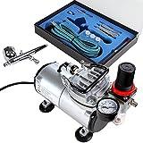 Timbertech Airbrush-Set mit Kompressor, Double Action-Airbrush-Pistole und Zubehör (Düsen, Schlauch etc..)