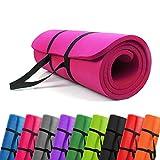 PROMIC Trainingsmatte, Yogamatte, 183 cm x 61 cm x 1,5 cm Pilates Matte, für Yoga, Pilates und Andere Trainings zu Hause und Studio, Rutschfeste Gymnastikmatte mit Tragegürtel, Rosa