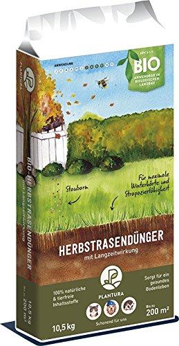 Plantura Bio Herbstrasendünger Langzeitwirkung | für maximale Winterhärte | 100% tierfrei & Bio-Zertifiziert | gut für den Boden | unbedenklich für Haus- & Gartentiere | Rasendünger | Dünger