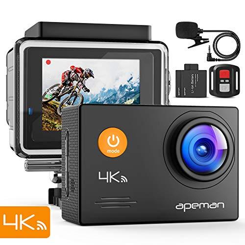 APEMAN Action Cam 4K WiFi 16MP wasserdichte 40M Unterwasserkamera mit Mikrofon und Fernbedienung (A79)