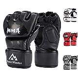 Brace Master MMA Handschuhe UFC Handschuhe Leather Padding für Männer, Frauen, Knöchelgelenkschutz, Fingerlose Sparring-Handschuhe für das Training, Kickboxen, Muay Thai, Boxen (Schwarz L)
