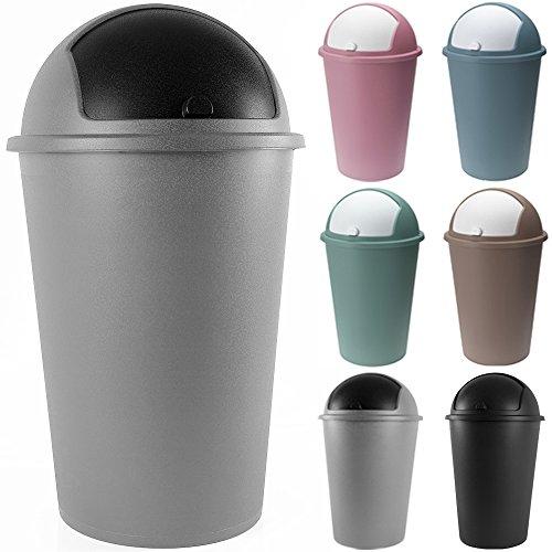 Abfalleimer 50L Push Can mit Schiebedeckel 68cm x 40cm grau - Mülleimer Abfallbehälter Papierkorb Müllsammler