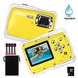 DECOMEN Digitalkamera Für Kinder Unterwasser-Digitalkamera für Kinder, Kinder Kamera mit 12MP HD Fotoauflösung, 2.0' LCD, 8X Digitalzoom, Blitz, Mikrofon und 8G SD-Karte(Gelb)