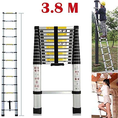 Teleskopleiter YUMUN 3.8M Alu Leiter Ausziehbar Haushaltsleiter Teleskopleiter Aluminium Klappleiter Ausziehleiter Mehrzweckleiter -Maximale Belastbarkeit 150 kg