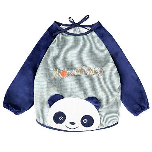 Ärmellätzchen wasserdicht Stickmotiv lätzchen mit ärmeln Velours armellatzchen abwaschbar - Essen und Play Smock Schürze für Kleinkinder 6-36 Monate Baby Kinder von FUTURE FOUNDER - Gestreifter Panda