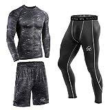 MEETEU Herren Kompressions Funktionswäsche Set, Atmungsaktive Funktionsshirt, Baselayer Tights Sport Leggings Shorts für Workout Laufen Training