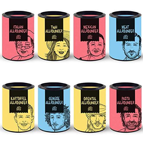 Just Spices 8er Allrounder Gewürzbox   Gewürz Set in schöner Holz Box   8 verschiedene Gewürzmischungen zum Verschenken   Geschenkset für Frauen und Männer