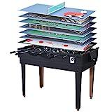 Miweba Multigame Spieletisch 15 in 1 Tischfußball Kicker Billard Hockey Spieltisch Multifunktionstisch (Korpus Schwarz)