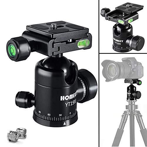Homeet YT19X Kamera Stativ Kugelkopf Metall 360 Grad Drehbar Panorama Stativkopf CNC Eloxiert, 1/4' & 3/8' Muttern mit 1/4 Zoll Schnellwechselplatte, bis zu 10kg Tragekraft Einbeinstativ Kugelkopf