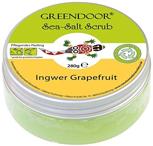 Greendoor Körper-Peeling Sea Salt Scrub Ingwer Grapefruit, Meer-Salz-Peeling ohne Mikroplastik, Duschpeeling ohne Konservierungsmittel, 280g, Body Scrub, Körperpeeling, Sauna Saunasalz