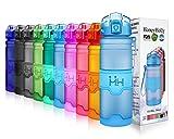 HoneyHolly Sport Trinkflasche - 14oz / 400ml - BPA frei dicht und umweltfreundlich - Für Gym, Laufen, Yoga, Camping, Outdoor, Männer, Frauen & Kinder - One Handed Open & Tritan Trinkflaschen aus Kunststoff mit Filter (0.4 Liter, Matte Blau)