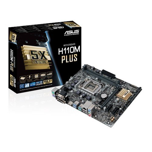Asus H110M-Plus Mainboard Sockel 1151 (µATX, Intel H110, 2x DDR4 Speicher, 4x SATA 6Gb/s, 2x USB 3.1, 2x USB 3.0, 2x USB 2.0, PCIe 3.0)