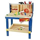 Leo & Emma - Spielwerkbank aus Holz, 50tlg Werkbank für Kleine Kinder aus Holz - Hochwertig Hergestellt und Lackiert