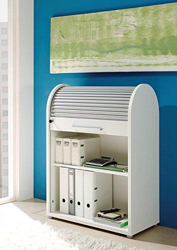 Möbel Jähnichen Rolladenschrank weiß 70 x 92 x 40, Aktenschrank, Büroschrank Jalousieschrank