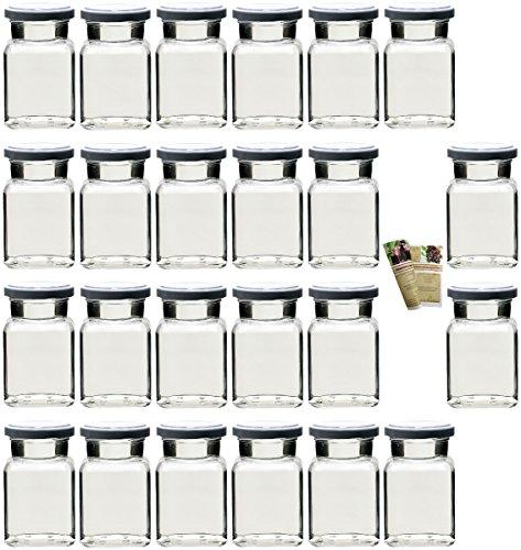 gouveo 24er Set Einmachgläser 'Quadrat' 150 ml Drehverschluss Silber und 28-seitige Flaschendiscount-Rezeptbroschüre, Vorratsgläser, Marmeladengläser, Gewürzgläser, Einweckgläser