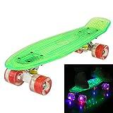 WeSkate Cruiser Skateboard Komplett Retro Mini Crystal Komplettboard, 22' 55CM Vintage Skate Board mit LED Leuchtrollen/Deck, Geschenk für Erwachsene Jugendliche Kinder Jungen Mädchen