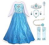 JerrisApparel Prinzessin Kostüm Karneval Verkleidung Party Kleid (130, ELSA with Accessories)
