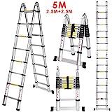 Lichire 5m Teleskopleite,Alu Klappleiter, aus hochwertiges Aluminium,Multifunktionsleiter,  Rutschfester Klappleiter,max Belastbarkeit 150 kg